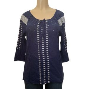 Old Navy Sheer Embroidered Elbow Sleeve Blouse